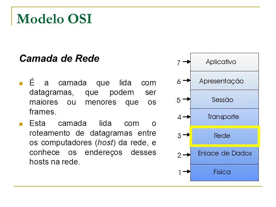 Modelo OSI Camada de Rede É a camada que lida com datagramas, que podem ser maiores ou menores que os frames. Esta camada lida com o roteamento de dat