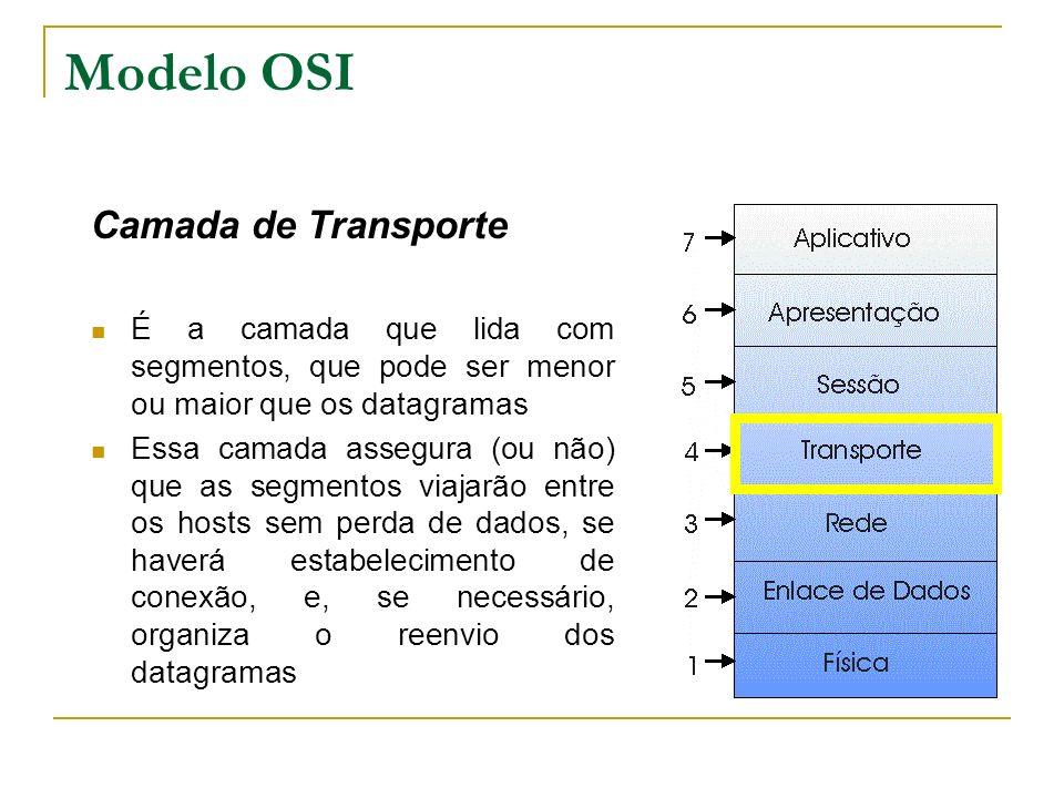 Modelo OSI Camada de Transporte É a camada que lida com segmentos, que pode ser menor ou maior que os datagramas Essa camada assegura (ou não) que as