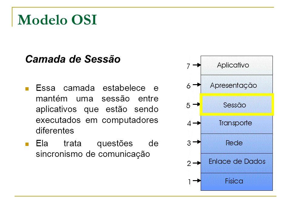 Modelo OSI Camada de Sessão Essa camada estabelece e mantém uma sessão entre aplicativos que estão sendo executados em computadores diferentes Ela tra