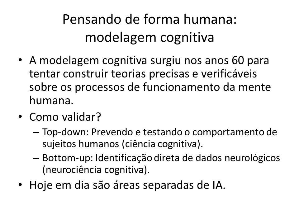Pensando de forma humana: modelagem cognitiva A modelagem cognitiva surgiu nos anos 60 para tentar construir teorias precisas e verificáveis sobre os