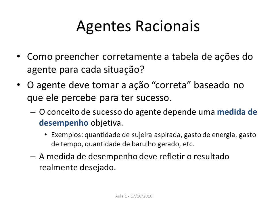 Agentes Racionais Como preencher corretamente a tabela de ações do agente para cada situação? O agente deve tomar a ação correta baseado no que ele pe