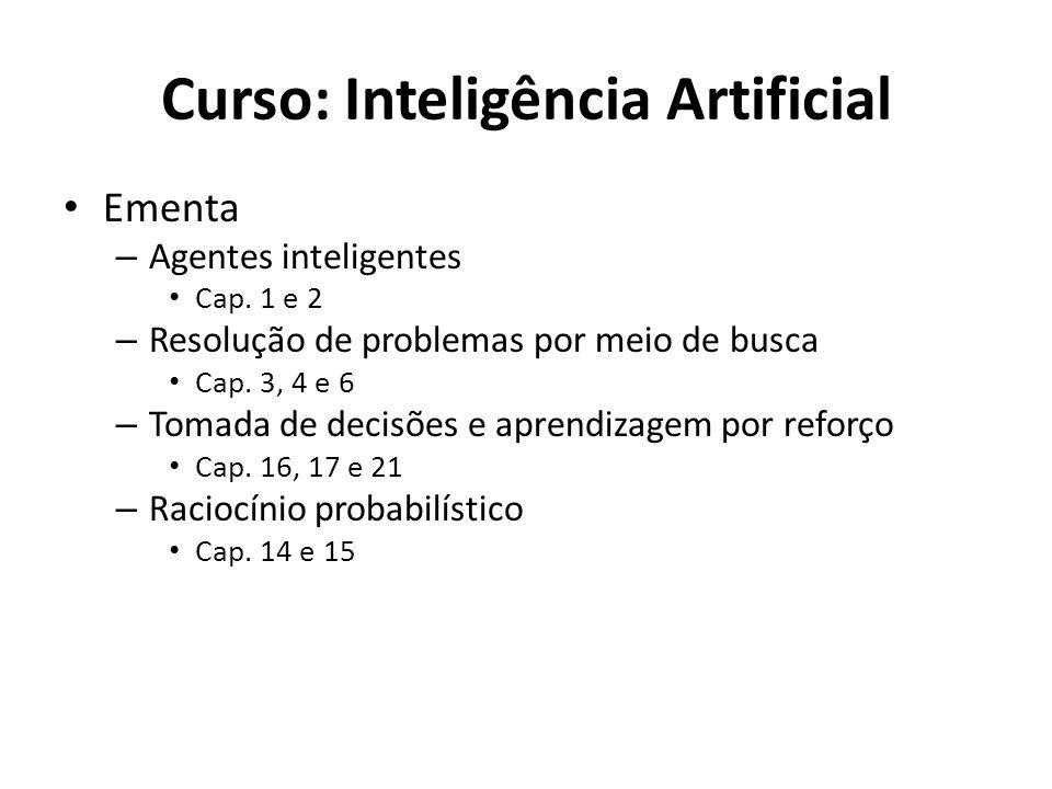 Curso: Inteligência Artificial Ementa – Agentes inteligentes Cap. 1 e 2 – Resolução de problemas por meio de busca Cap. 3, 4 e 6 – Tomada de decisões