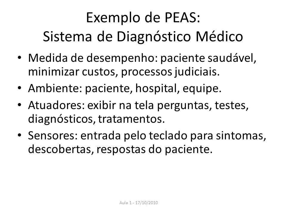 Exemplo de PEAS: Sistema de Diagnóstico Médico Medida de desempenho: paciente saudável, minimizar custos, processos judiciais. Ambiente: paciente, hos