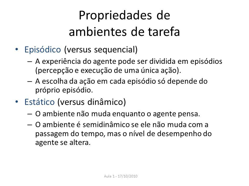 Propriedades de ambientes de tarefa Episódico (versus sequencial) – A experiência do agente pode ser dividida em episódios (percepção e execução de um