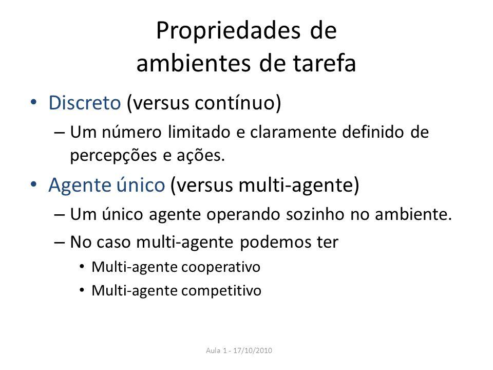 Propriedades de ambientes de tarefa Discreto (versus contínuo) – Um número limitado e claramente definido de percepções e ações. Agente único (versus
