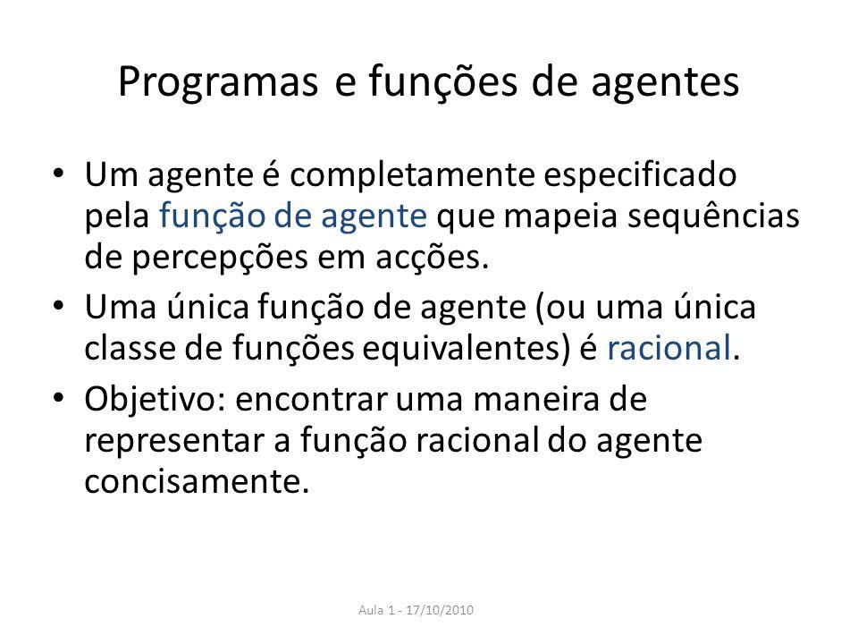 Programas e funções de agentes Um agente é completamente especificado pela função de agente que mapeia sequências de percepções em acções. Uma única f