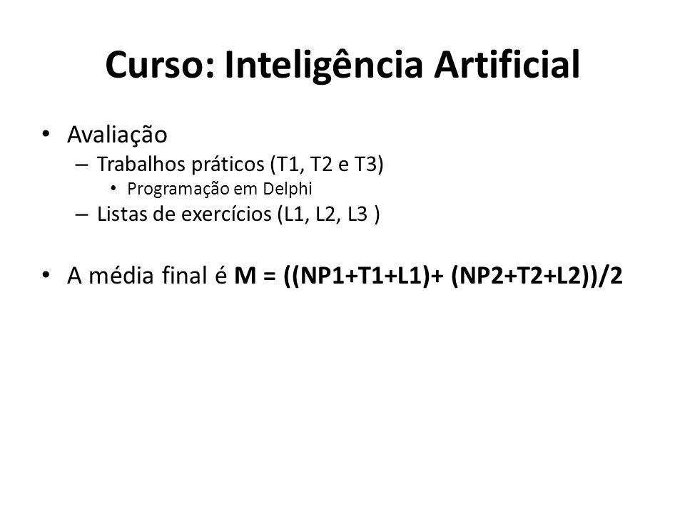 Curso: Inteligência Artificial Avaliação – Trabalhos práticos (T1, T2 e T3) Programação em Delphi – Listas de exercícios (L1, L2, L3 ) A média final é