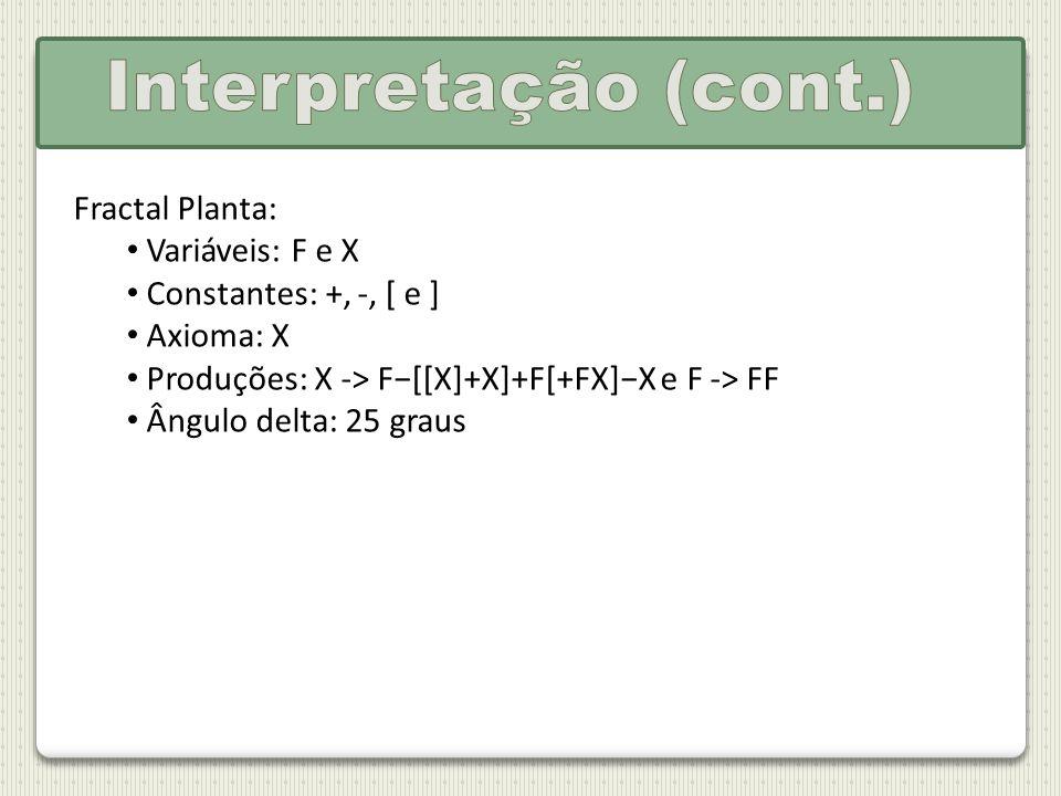 Fractal Planta: Variáveis: F e X Constantes: +, -, [ e ] Axioma: X Produções: X -> F[[X]+X]+F[+FX]X e F -> FF Ângulo delta: 25 graus