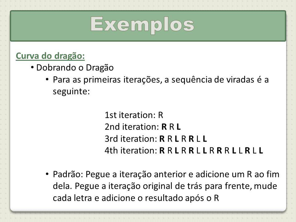 Curva do dragão: Dobrando o Dragão Para as primeiras iterações, a sequência de viradas é a seguinte: 1st iteration: R 2nd iteration: R R L 3rd iterati