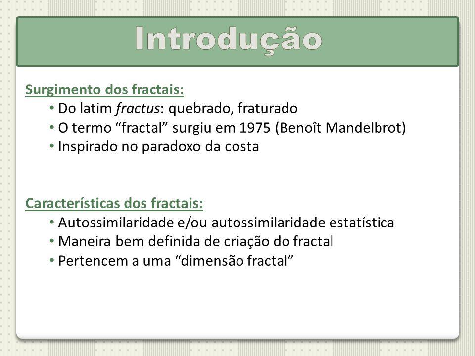 Surgimento dos fractais: Do latim fractus: quebrado, fraturado O termo fractal surgiu em 1975 (Benoît Mandelbrot) Inspirado no paradoxo da costa Carac