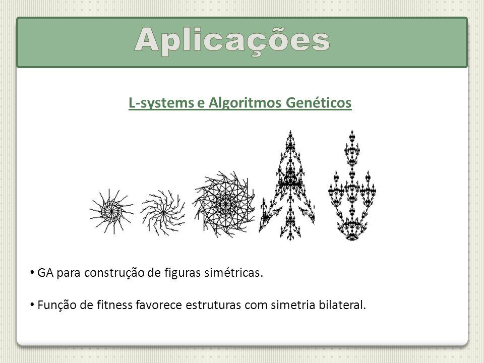 L-systems e Algoritmos Genéticos GA para construção de figuras simétricas. Função de fitness favorece estruturas com simetria bilateral.