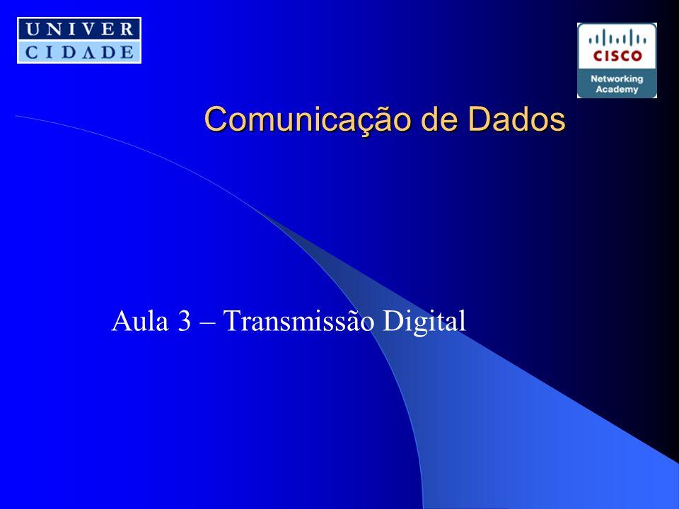 Sumário Transmissão Digital Codificação de linha –Características –Esquema de codificação Unipolar Polar Bipolar Codificação de Blocos –Etapas da seqüência de transformação –Bloco de códigos