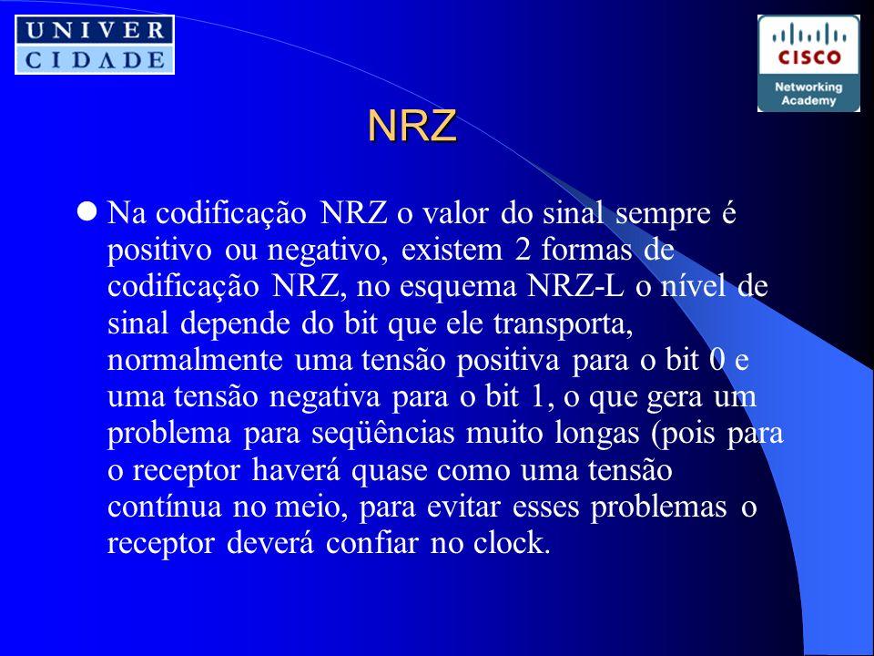 NRZ Na codificação NRZ o valor do sinal sempre é positivo ou negativo, existem 2 formas de codificação NRZ, no esquema NRZ-L o nível de sinal depende do bit que ele transporta, normalmente uma tensão positiva para o bit 0 e uma tensão negativa para o bit 1, o que gera um problema para seqüências muito longas (pois para o receptor haverá quase como uma tensão contínua no meio, para evitar esses problemas o receptor deverá confiar no clock.