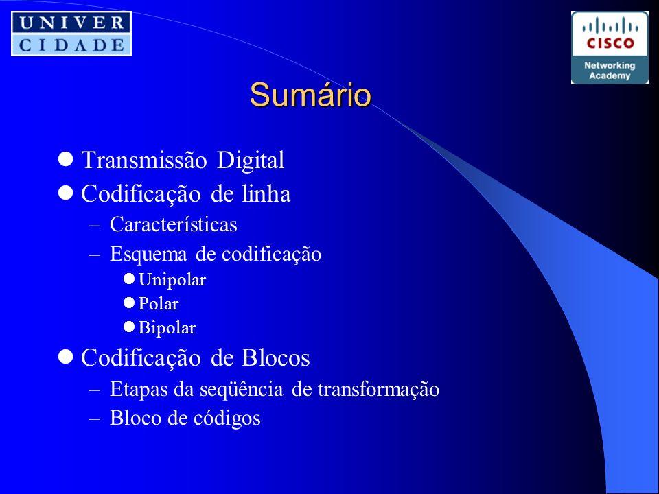 Transmissão digital É a forma pela qual transmitimos dados por um meio no formato digital Os dados podem ser colocados no meio através de técnicas de codificação de linha ou de codificação de blocos