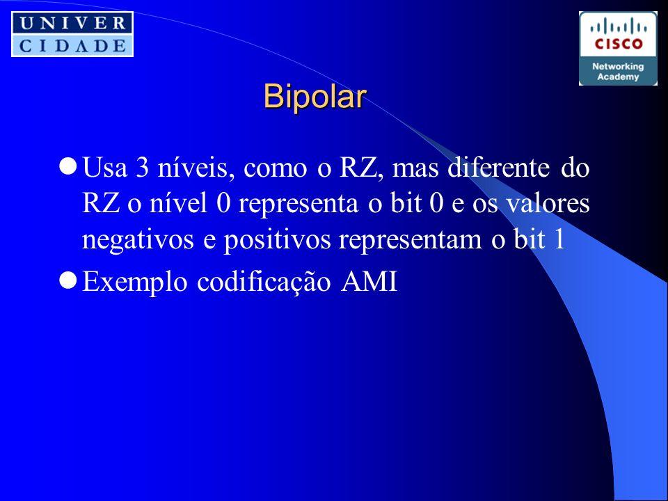 Bipolar Usa 3 níveis, como o RZ, mas diferente do RZ o nível 0 representa o bit 0 e os valores negativos e positivos representam o bit 1 Exemplo codificação AMI