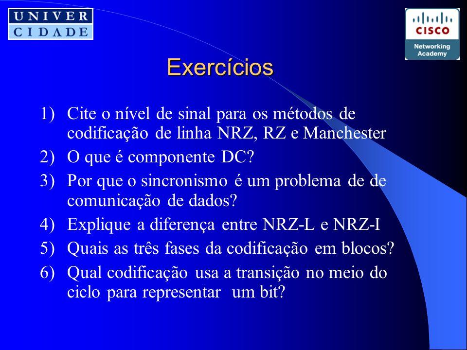 Exercícios 1)Cite o nível de sinal para os métodos de codificação de linha NRZ, RZ e Manchester 2)O que é componente DC.
