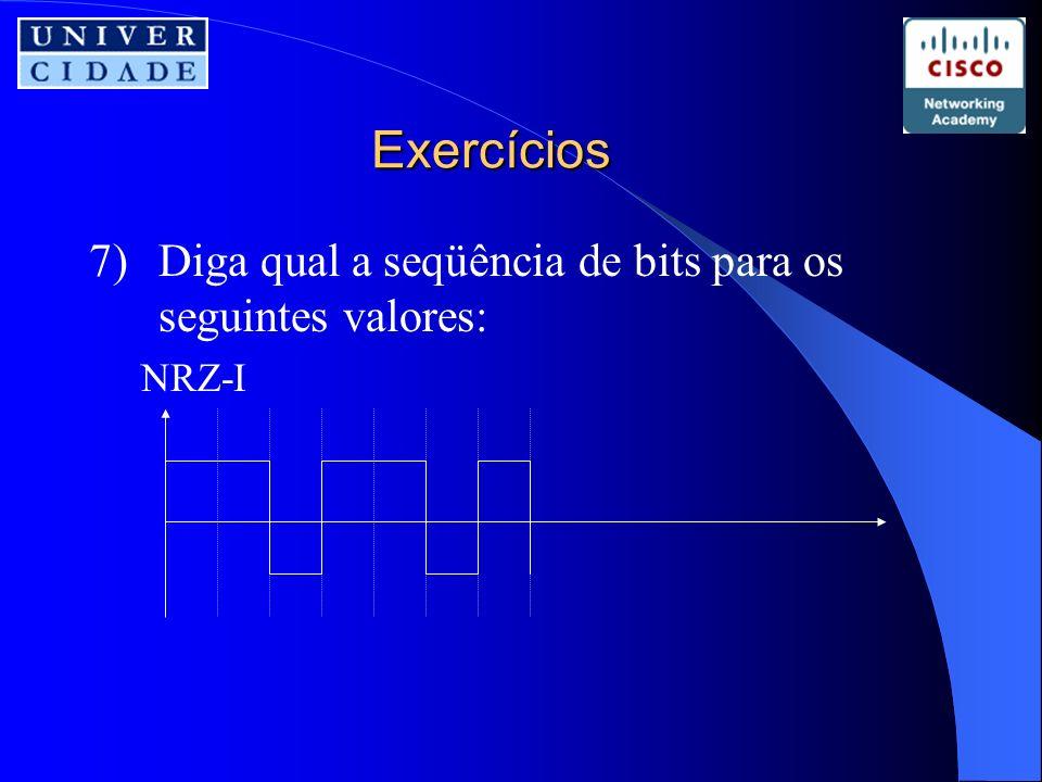 Exercícios 7)Diga qual a seqüência de bits para os seguintes valores: NRZ-I