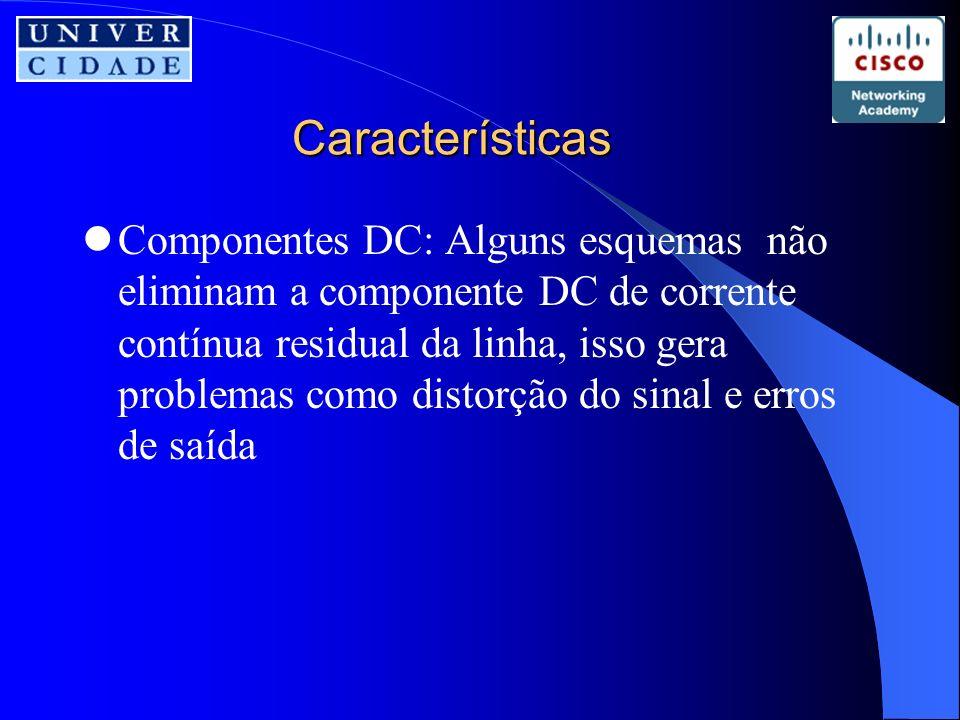 Características Componentes DC: Alguns esquemas não eliminam a componente DC de corrente contínua residual da linha, isso gera problemas como distorção do sinal e erros de saída