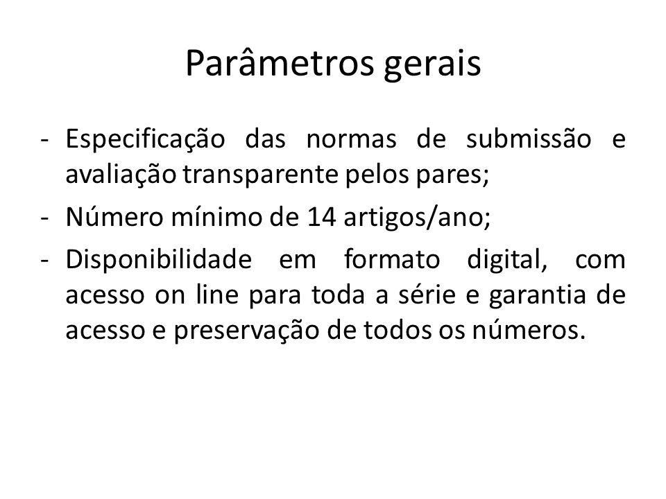 Parâmetros gerais -Especificação das normas de submissão e avaliação transparente pelos pares; -Número mínimo de 14 artigos/ano; -Disponibilidade em f