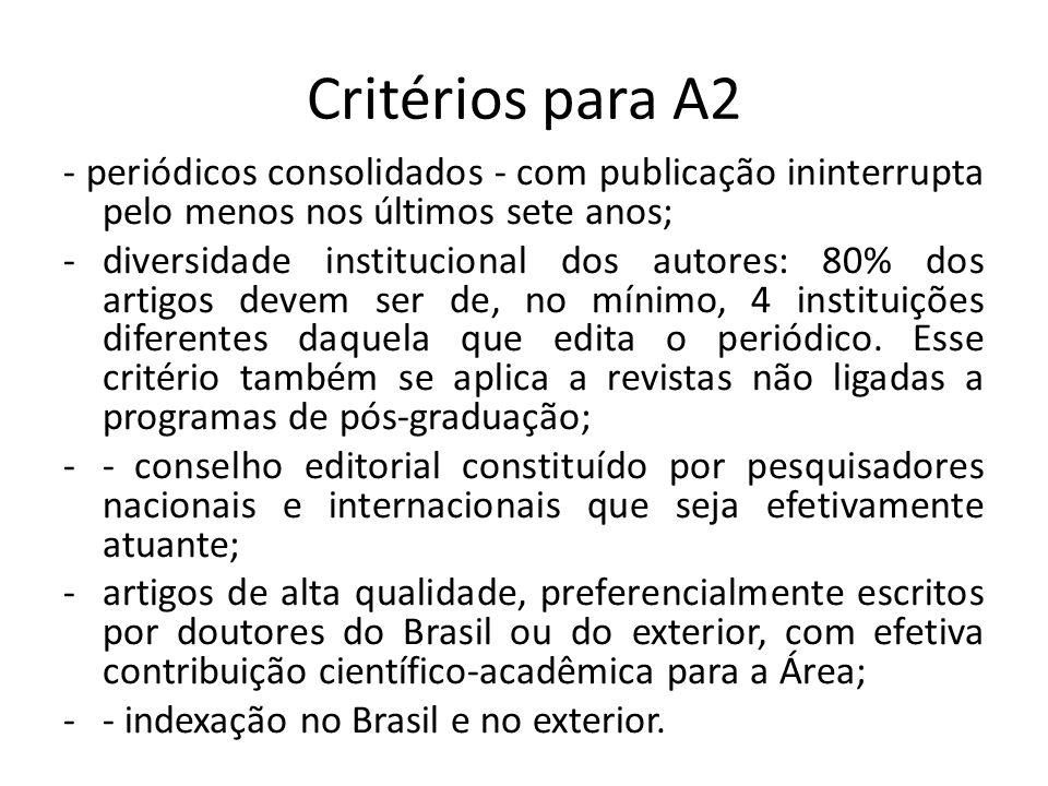 Critérios para A2 - periódicos consolidados - com publicação ininterrupta pelo menos nos últimos sete anos; -diversidade institucional dos autores: 80