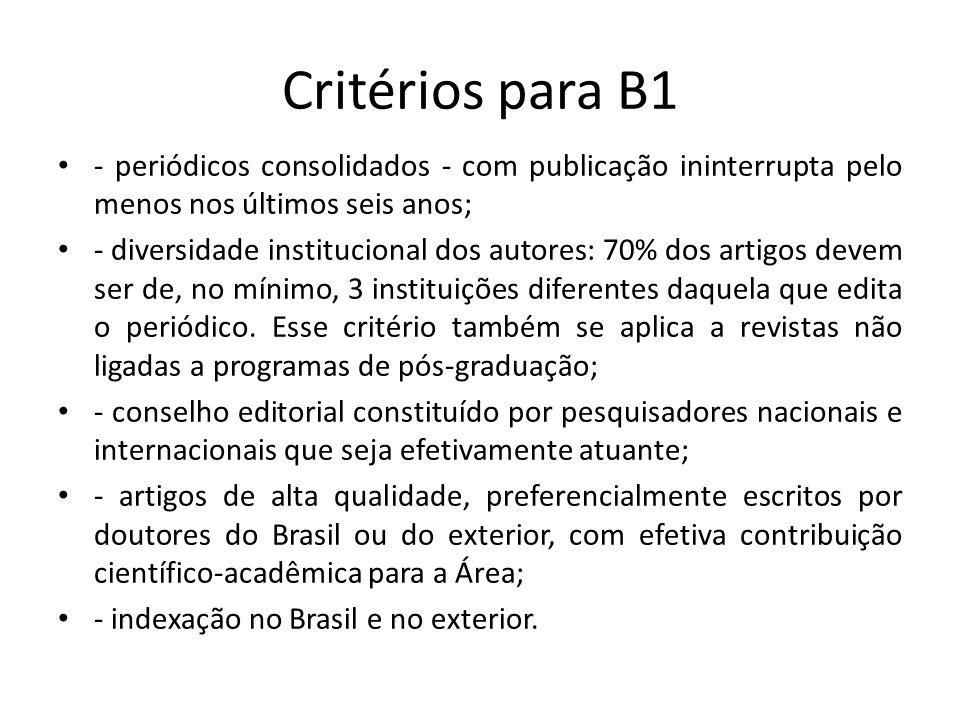 Critérios para B1 - periódicos consolidados - com publicação ininterrupta pelo menos nos últimos seis anos; - diversidade institucional dos autores: 70% dos artigos devem ser de, no mínimo, 3 instituições diferentes daquela que edita o periódico.
