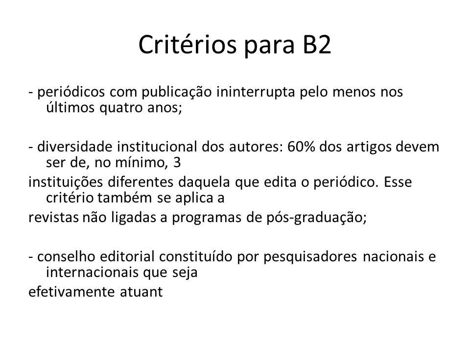 Critérios para B2 - periódicos com publicação ininterrupta pelo menos nos últimos quatro anos; - diversidade institucional dos autores: 60% dos artigos devem ser de, no mínimo, 3 instituições diferentes daquela que edita o periódico.