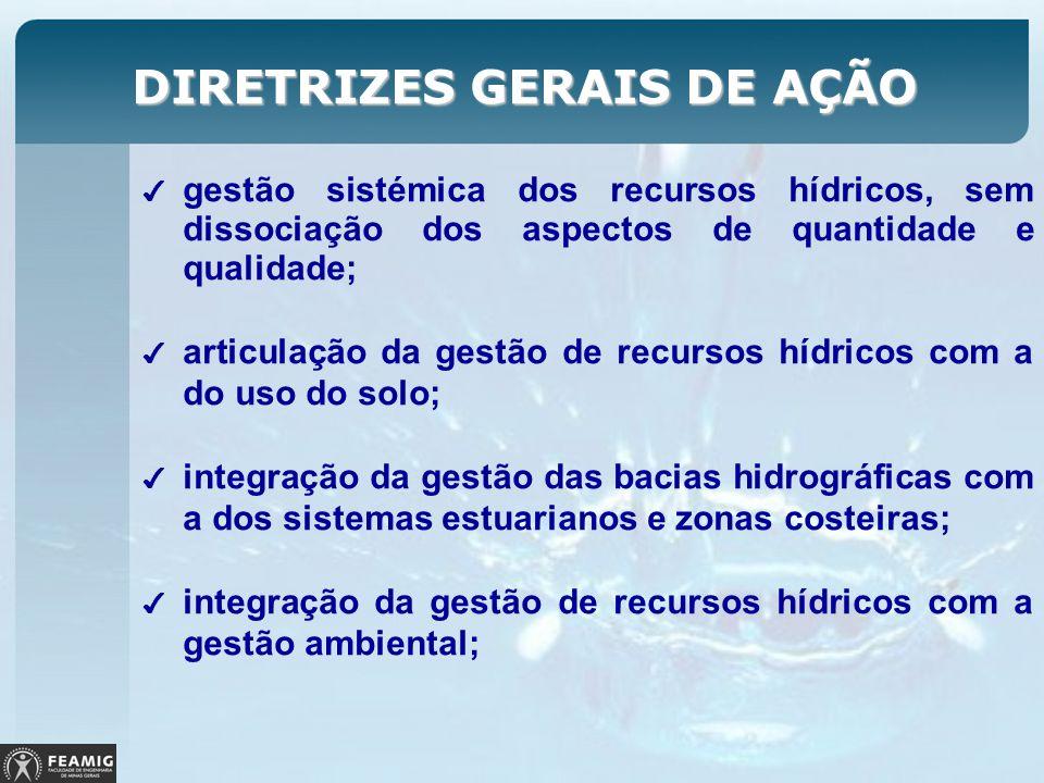 DIRETRIZES GERAIS DE AÇÃO gestão sistémica dos recursos hídricos, sem dissociação dos aspectos de quantidade e qualidade; articulação da gestão de rec