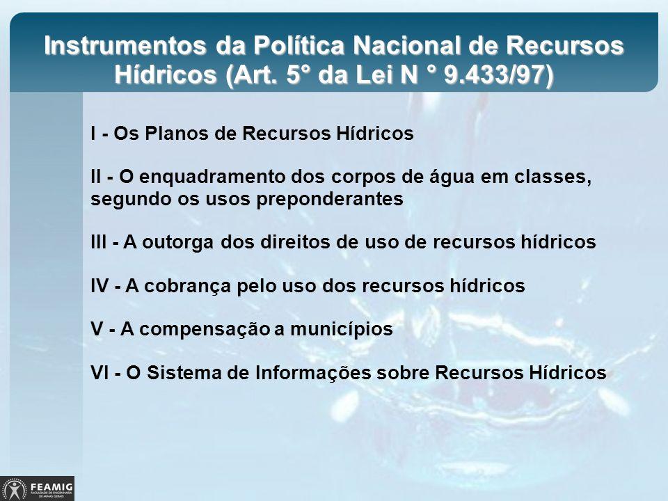 Instrumentos da Política Nacional de Recursos Hídricos (Art. 5° da Lei N ° 9.433/97) I - Os Planos de Recursos Hídricos II - O enquadramento dos corpo