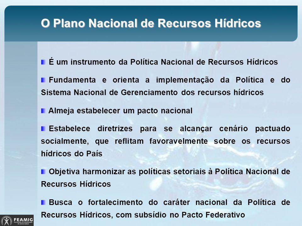 O Plano Nacional de Recursos Hídricos É um instrumento da Política Nacional de Recursos Hídricos Fundamenta e orienta a implementação da Política e do