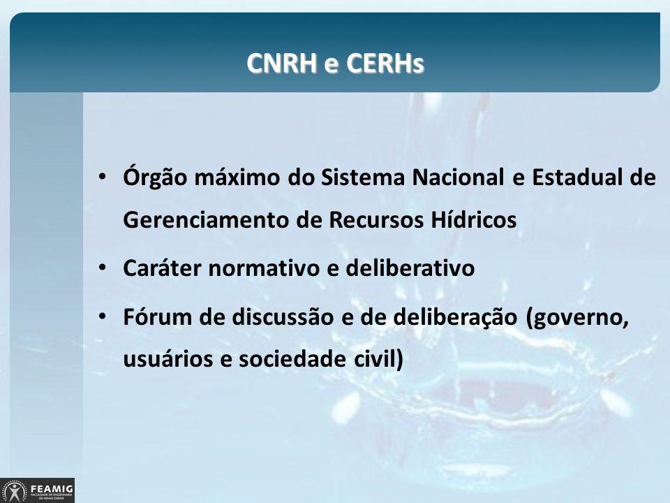 CNRH e CERHs Órgão máximo do Sistema Nacional e Estadual de Gerenciamento de Recursos Hídricos Caráter normativo e deliberativo Fórum de discussão e d