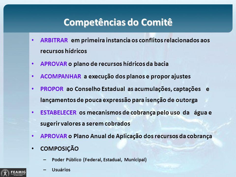 Competências do Comitê ARBITRAR em primeira instancia os conflitos relacionados aos recursos hídricos APROVAR o plano de recursos hídricos da bacia AC