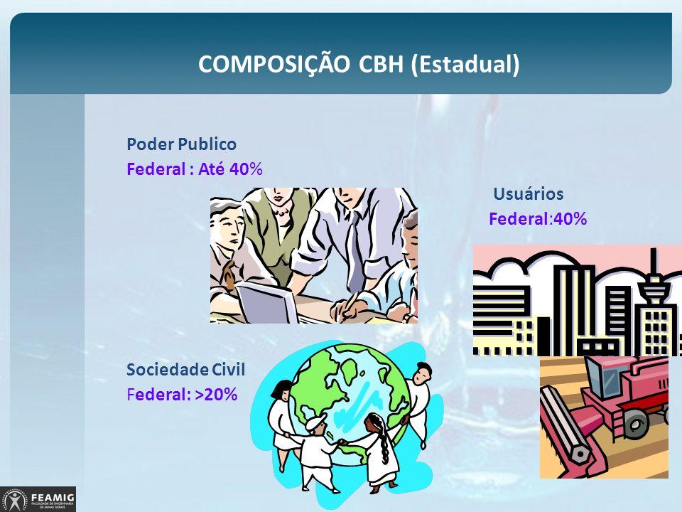 COMPOSIÇÃO CBH (Estadual) Poder Publico Federal : Até 40% Usuários Federal:40% Sociedade Civil Federal: >20%