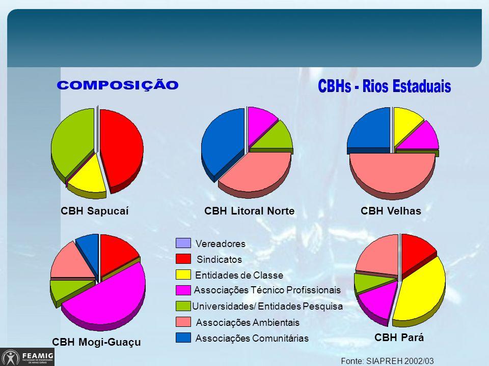 CBH Mogi-Guaçu CBH Pará CBH Sapucaí CBH Litoral NorteCBH Velhas Fonte: SIAPREH 2002/03 Vereadores Sindicatos Entidades de Classe Associações Técnico P