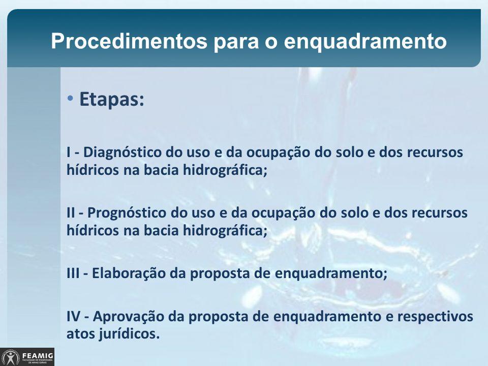 Procedimentos para o enquadramento Etapas: I - Diagnóstico do uso e da ocupação do solo e dos recursos hídricos na bacia hidrográfica; II - Prognóstic