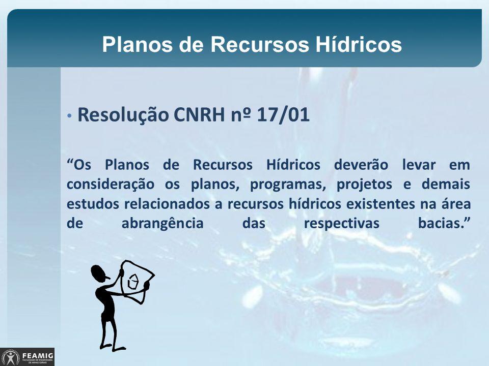 Planos de Recursos Hídricos Resolução CNRH nº 17/01 Os Planos de Recursos Hídricos deverão levar em consideração os planos, programas, projetos e dema