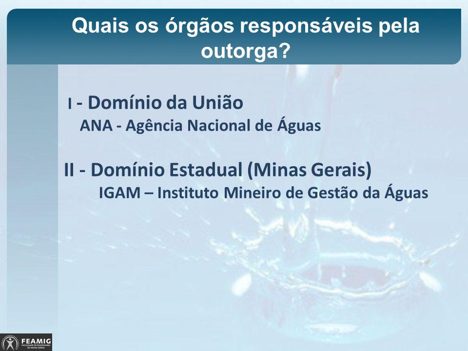 Quais os órgãos responsáveis pela outorga? I - Domínio da União ANA - Agência Nacional de Águas II - Domínio Estadual (Minas Gerais) IGAM – Instituto