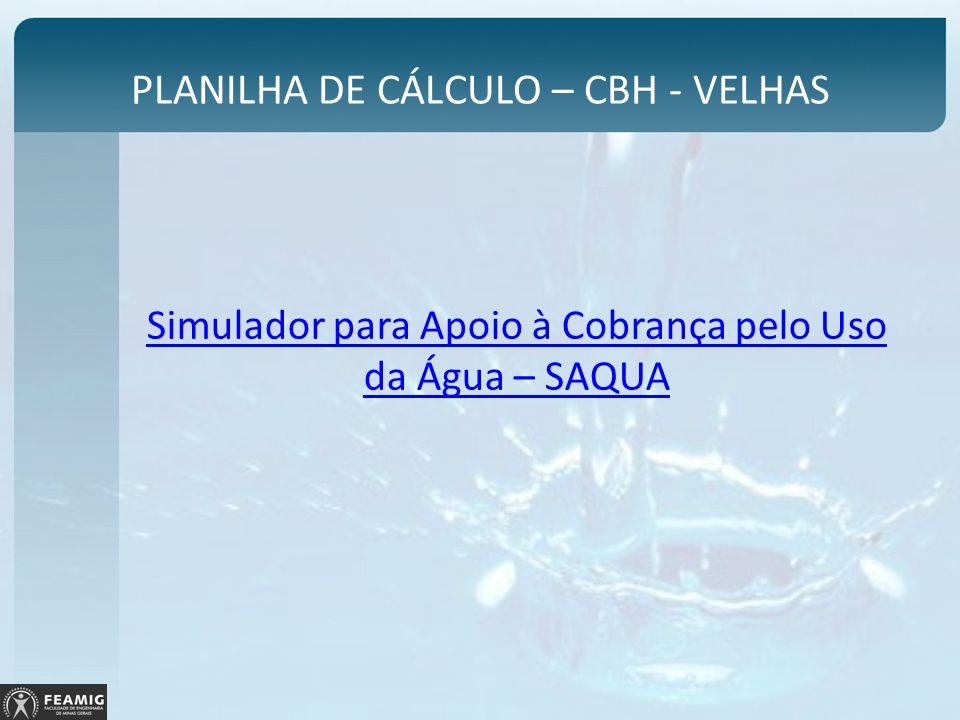 PLANILHA DE CÁLCULO – CBH - VELHAS Simulador para Apoio à Cobrança pelo Uso da Água – SAQUA