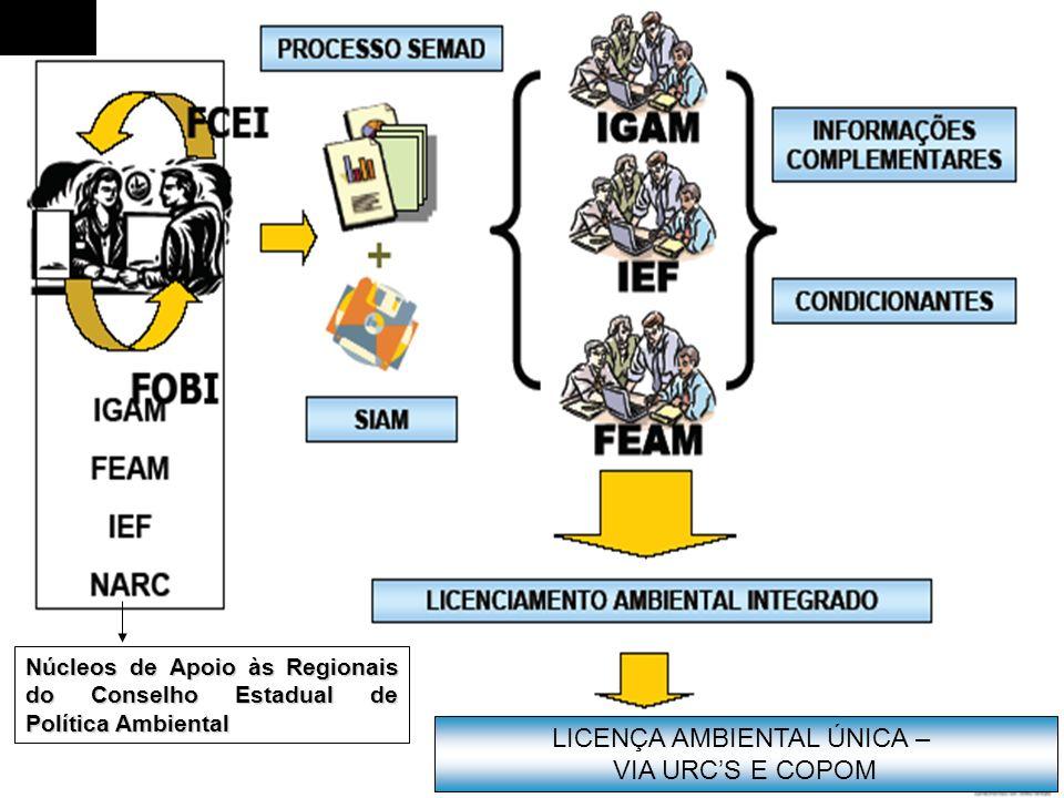 Núcleos de Apoio às Regionais do Conselho Estadual de Política Ambiental LICENÇA AMBIENTAL ÚNICA – VIA URCS E COPOM