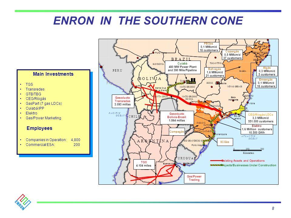 ENRON IN THE SOUTHERN CONE Cuiabá 0350700 MATO GROSSO DO SUL B R A Z I L SANTA CRUZ B O L I V I A A R G E N T I N A MATO GROSSO Kilometers Belo Horizo