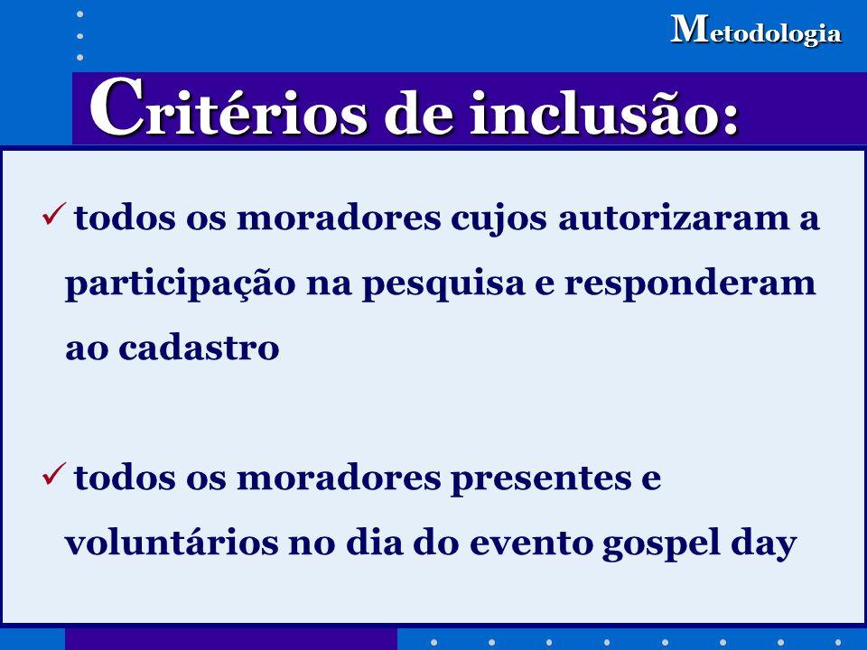 C ritérios de inclusão: M etodologia todos os moradores cujos autorizaram a participação na pesquisa e responderam ao cadastro todos os moradores pres