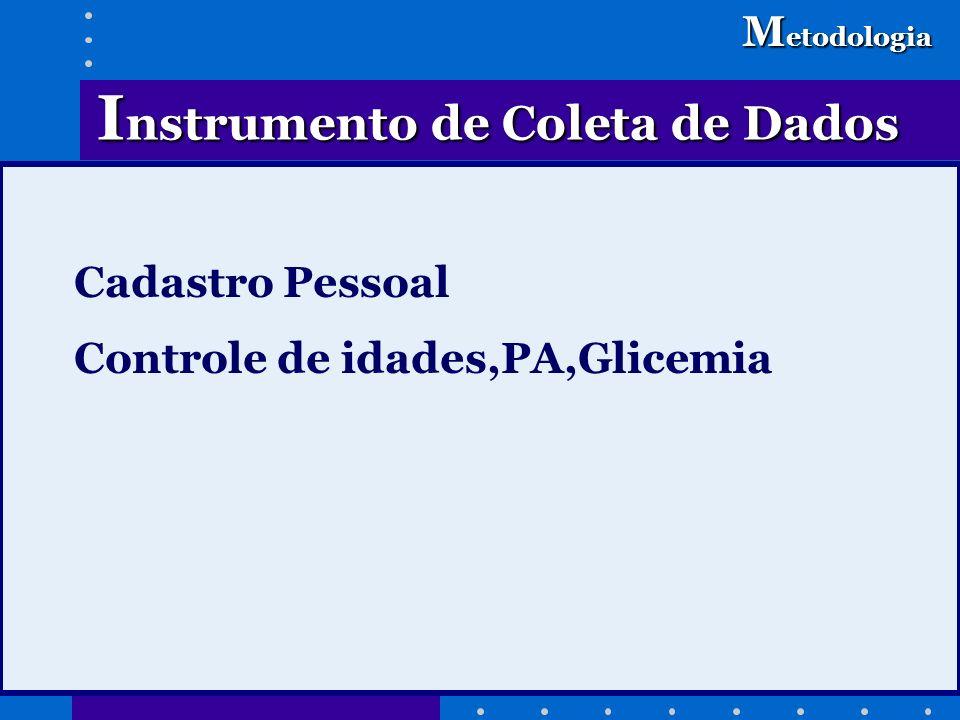 Cadastro Pessoal Controle de idades,PA,Glicemia I nstrumento de Coleta de Dados M etodologia