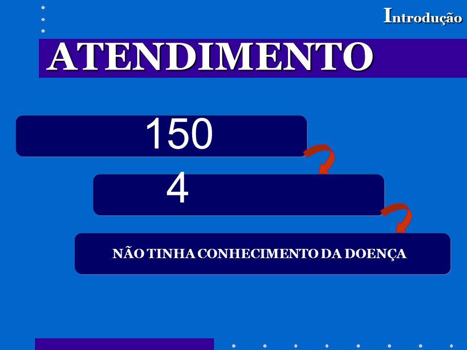 150 4 I ntrodução NÃO TINHA CONHECIMENTO DA DOENÇA ATENDIMENTO