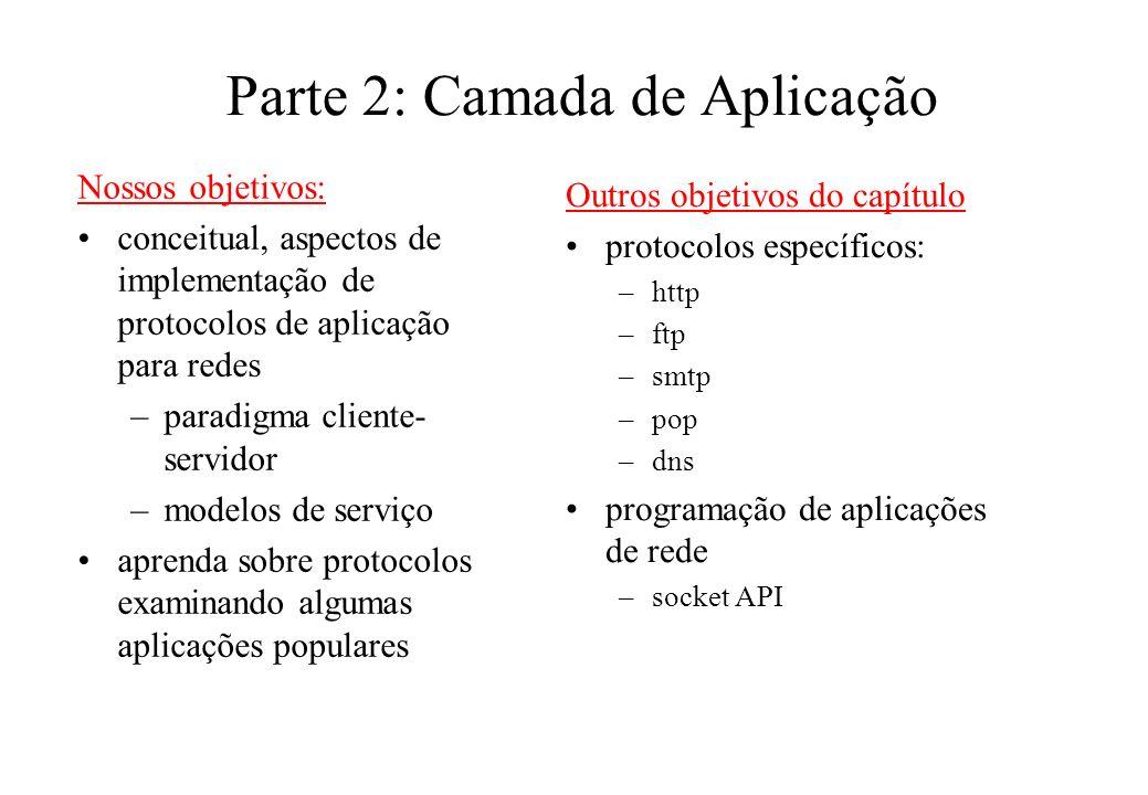 Parte 2: Camada de Aplicação Nossos objetivos: conceitual, aspectos de implementação de protocolos de aplicação para redes –paradigma cliente- servido