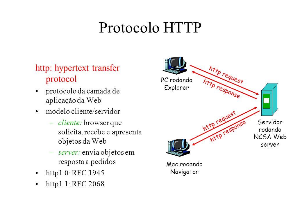 Protocolo HTTP http: hypertext transfer protocol protocolo da camada de aplicação da Web modelo cliente/servidor –cliente: browser que solicita, receb