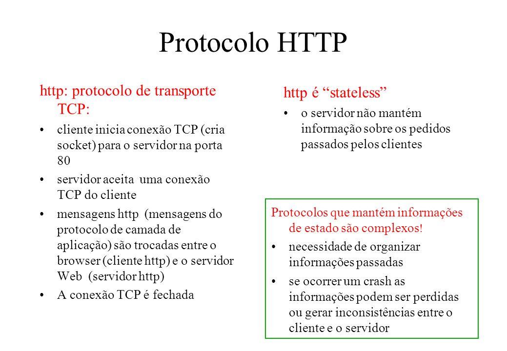 Protocolo HTTP http: protocolo de transporte TCP: cliente inicia conexão TCP (cria socket) para o servidor na porta 80 servidor aceita uma conexão TCP