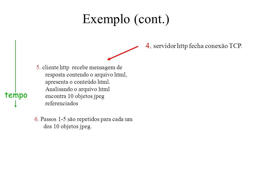Exemplo (cont.) 5. cliente http recebe mensagem de resposta contendo o arquivo html, apresenta o conteúdo html. Analisando o arquivo html encontra 10