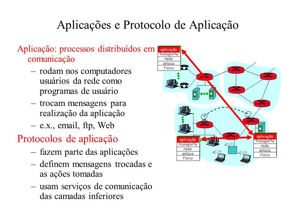 Aplicações e Protocolo de Aplicação Aplicação: processos distribuídos em comunicação –rodam nos computadores usuários da rede como programas de usuári