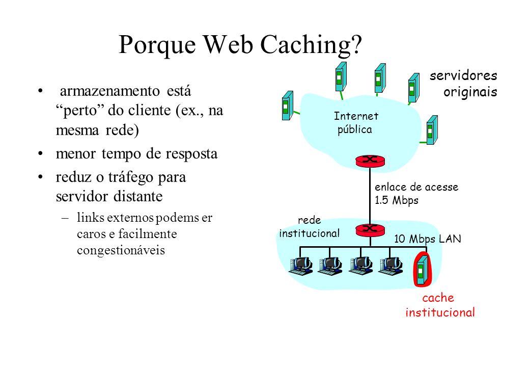 Porque Web Caching? armazenamento está perto do cliente (ex., na mesma rede) menor tempo de resposta reduz o tráfego para servidor distante –links ext