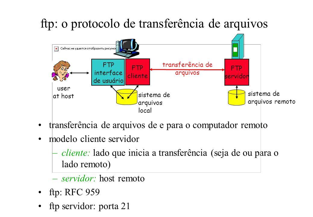 ftp: o protocolo de transferência de arquivos transferência de arquivos de e para o computador remoto modelo cliente servidor –cliente: lado que inici