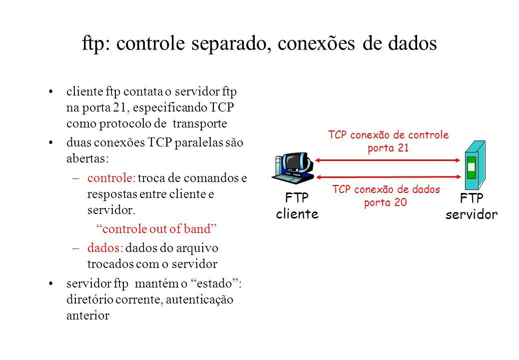 ftp: controle separado, conexões de dados cliente ftp contata o servidor ftp na porta 21, especificando TCP como protocolo de transporte duas conexões